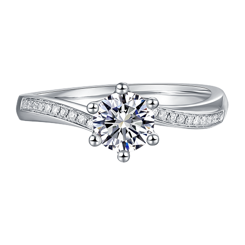 Classic six-claw twisted arm diamond ring